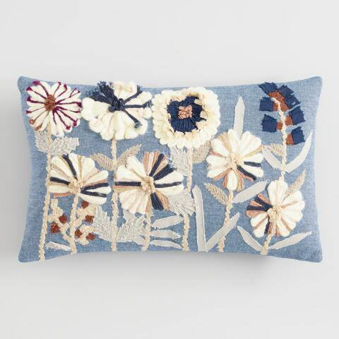Floral Embroidered Dori Lumbar Pillow