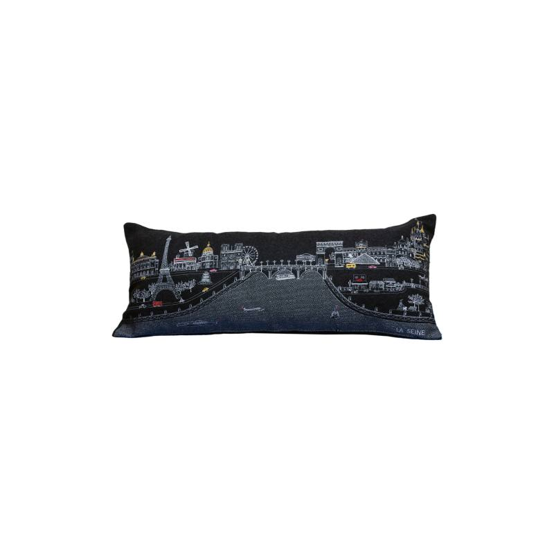 Paris Embroidered Skyline Pillow