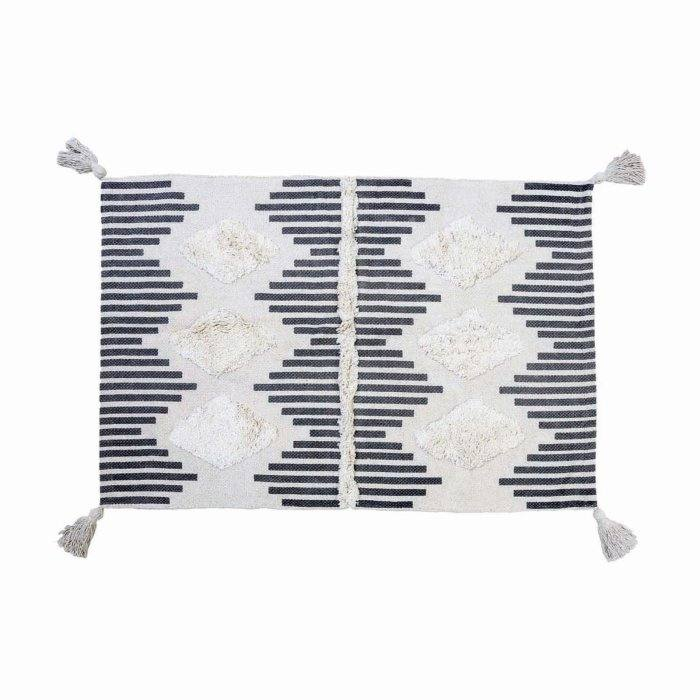 Black and White Tribal Cotton Area Rug