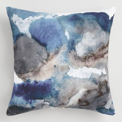Blue Watercolor Villa Isla Throw Pillow