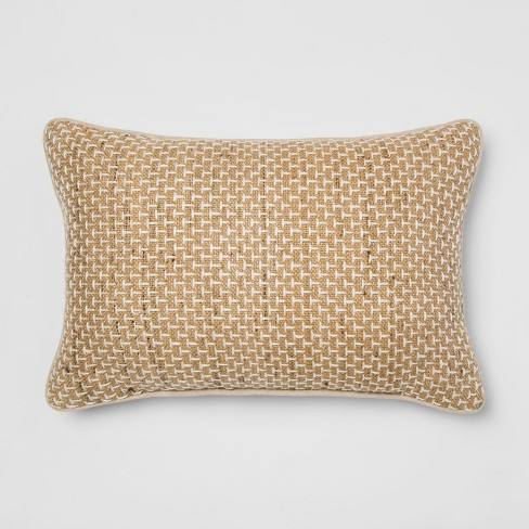 Silk/Cotton Textural Lumbar Throw Pillow Neutral - Threshold�