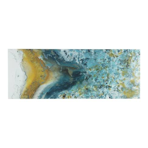 "Shattering Rock Yellow Heavy Gel Coated Canvas Blue 18""x48"""