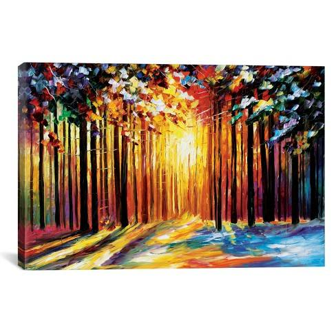 "18""x26"" Sun Of January by Leonid Afremov Unframed Wall Canvas Print Yellow - iCanvas"