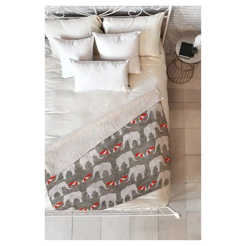 "Gray Animal Holli Zollinger Elephant And Umbrella Sherpa Throw Blanket (50""X60"") - Deny Designs�"