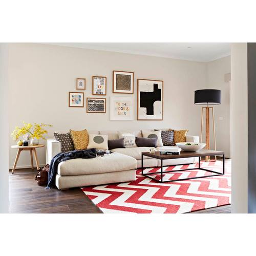Red accent modern living room