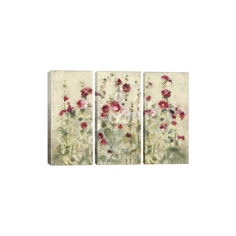 Hollyhocks Row Cool by Cheri Blum Gicl�e Print Canvas Art