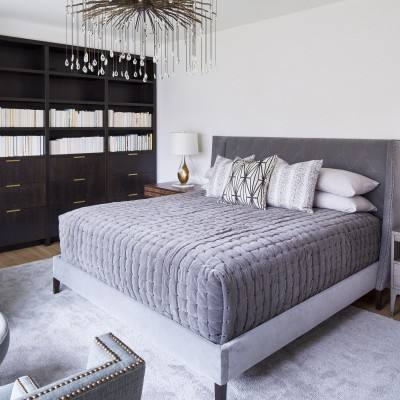 Modern grey master bedroom