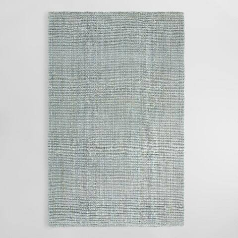 Light Gray Jute Boucle Area Rug