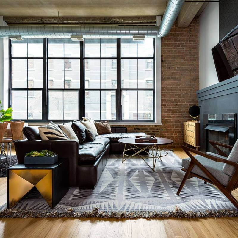 Industrial contemporary eclectic living room