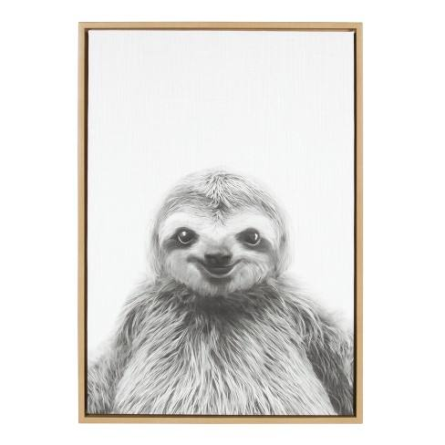 "Kate & Laurel 33""x23"" Sylvie Sloth Animal Print And Portrait By Simon Te Tai Framed Wall Canvas Wood"