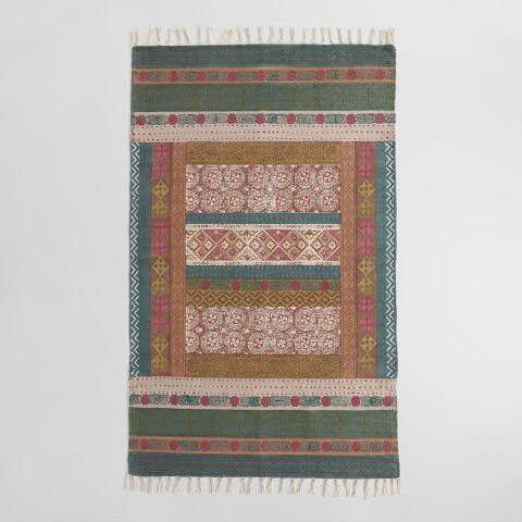 Multicolor Hand Block Print Cotton Kantha Area Rug