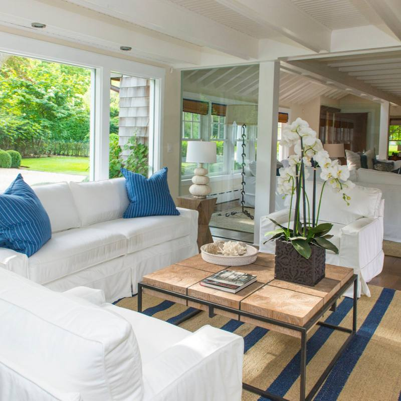 Get the look: Coastal Style Beach Blue Living room