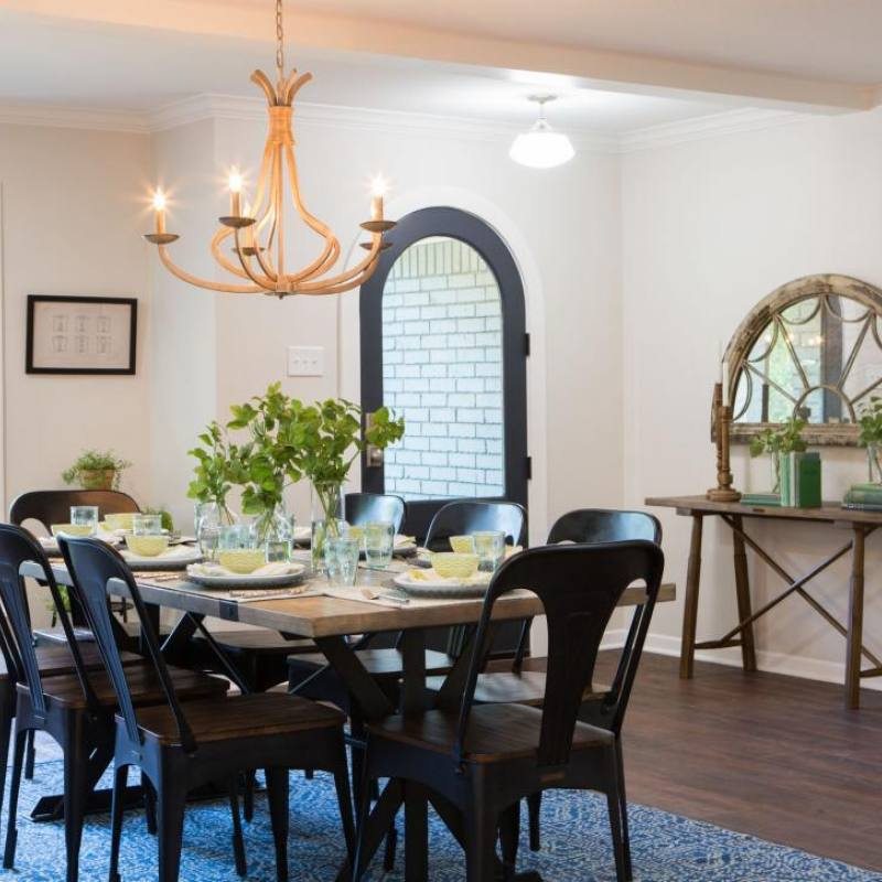 Fixer upper industrial dining room