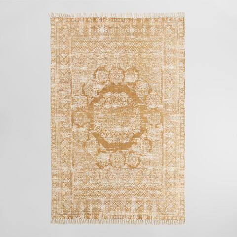 Gold Cotton Dhurrie Print Ariana Area Rug