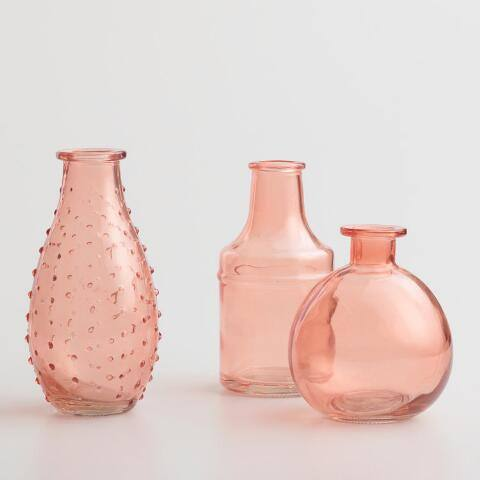 Coral Glass Bud Vases Set of 3
