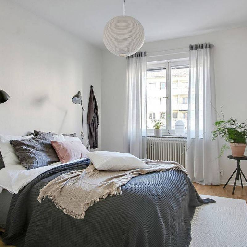 Casual Scandinavian apartment bedroom