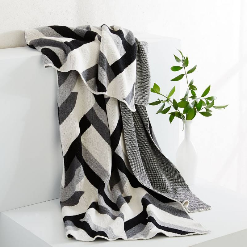 Happy Habitat Recycled Cotton Throw - Tucked in Grays