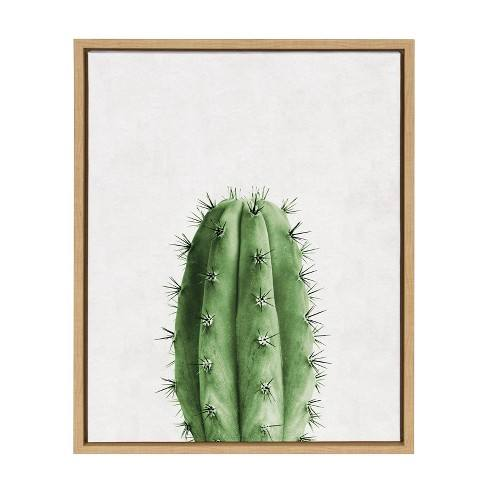 "Kate & Laurel 24""x18"" Sylvie Color Photo of Cactus Vertical Framed Wall Canvas Wood"