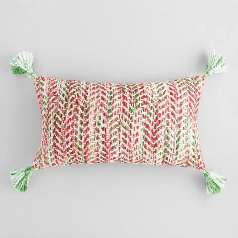 Oversized Red and Green Woven Lumbar Pillow
