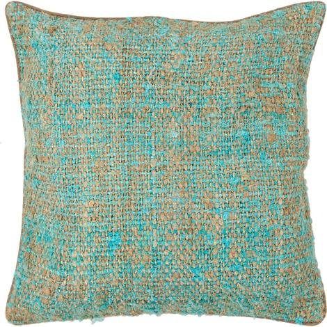 Textured Contemporary Silk Fabric Pillow - Blue/Natural