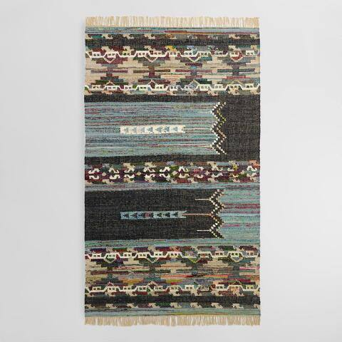 5'x8' Blue and Black Cotton Chindi Kilim Amadi Area Rug