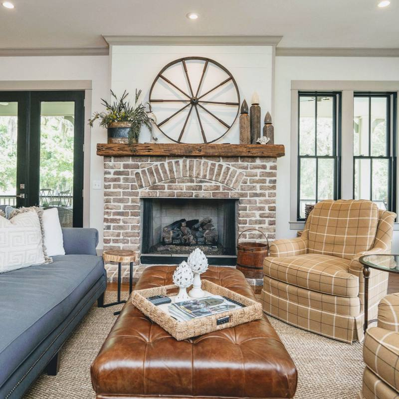 Rustic Country Farmhouse Living Room with cozy fireplace