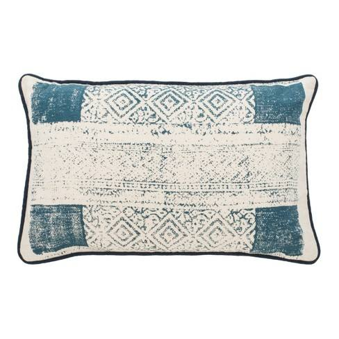 Abena Lumbar Throw Pillow Blue/Cream - Safavieh