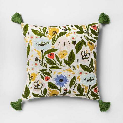Multi Floral Print Reverse to Velvet Oversize Square Throw Pillow - Opalhouse�