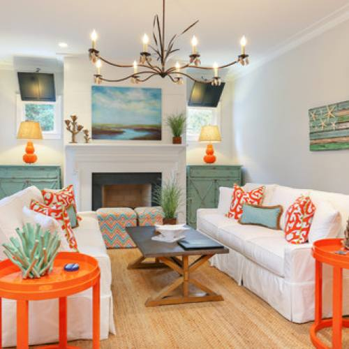 Colorful eclectic living room by Matthew Bolt Graphic