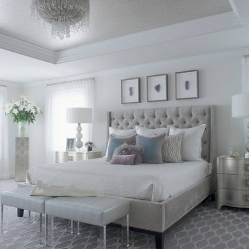 Grey neutral glam bedroom by Susan Glick Interiors