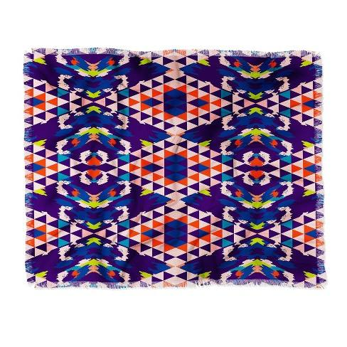 Holli Zollinger Geo Nomad Bright Woven Throw Blanket Purple - Deny Designs