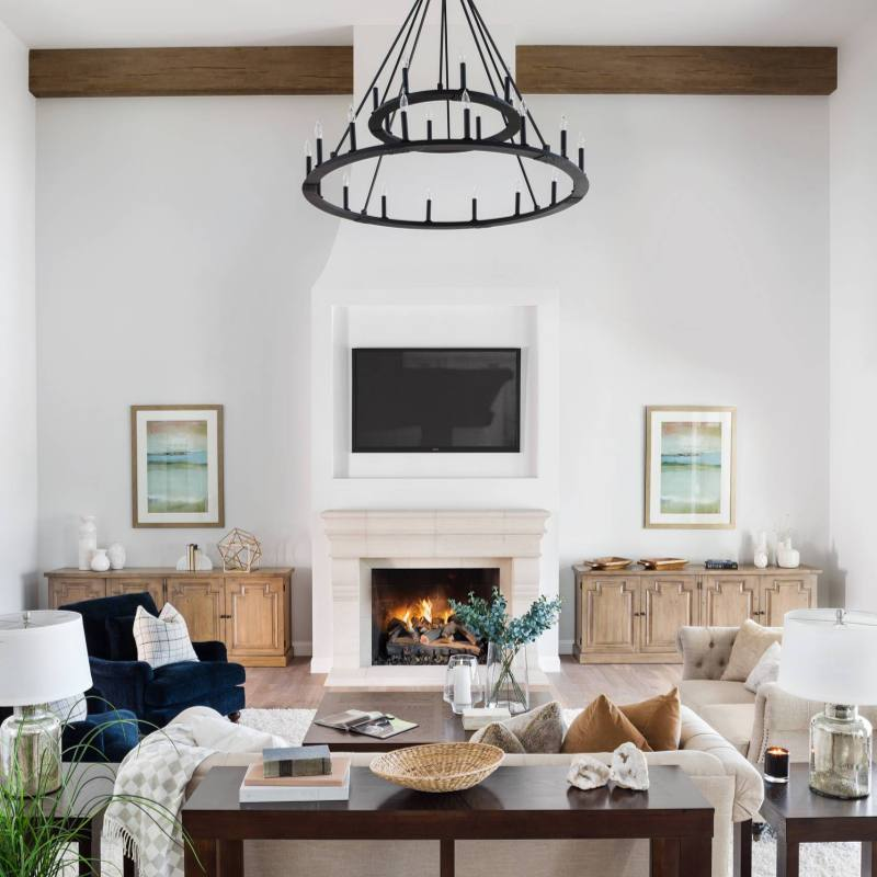 Open modern farmhouse living room