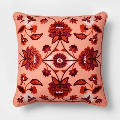 Embroidered Floral Medallion Square Throw Pillow Red - Threshold�