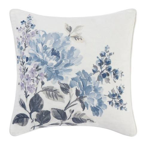 Laura Ashley Chloe Floral Embroidered Throw Pillow Blue