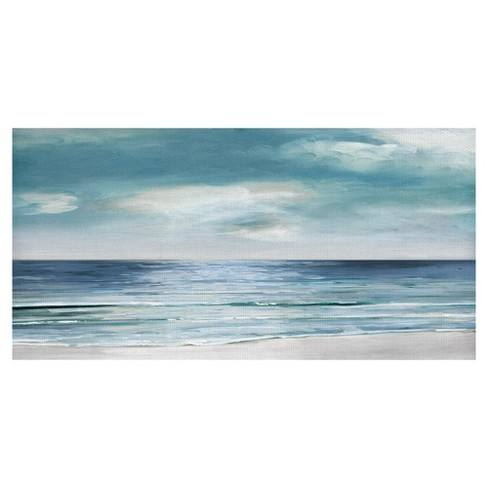 "24""x48"" Silver Shore By Sally Swatland Art On Canvas - Fine Art Canvas"