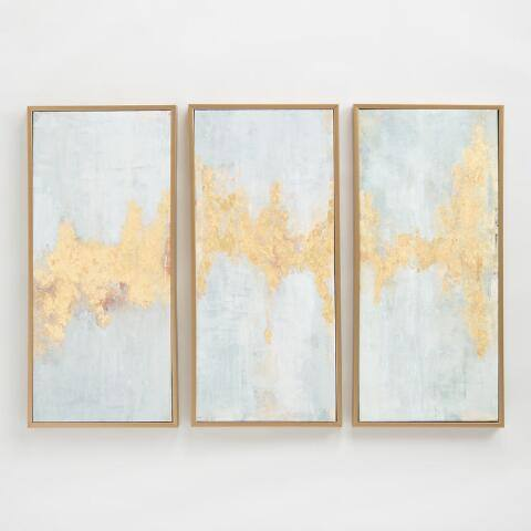 Fluent in Golds Triptych by Elinor Luna Wall Art Set of 3