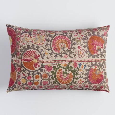 Oversized Multicolor Suzani Print Lumbar Pillow