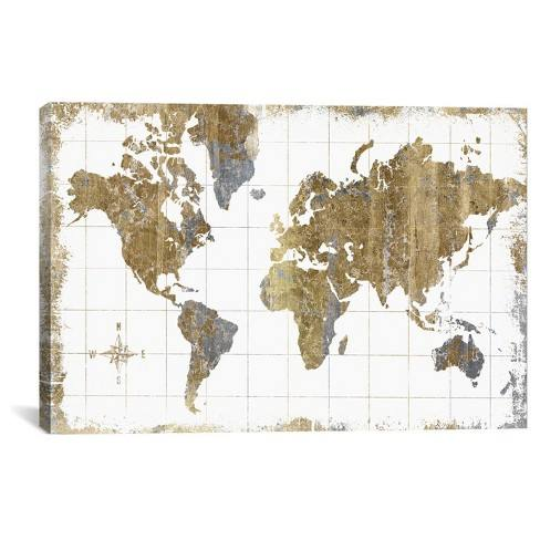 Gilded Map by All That Glitters Canvas Print