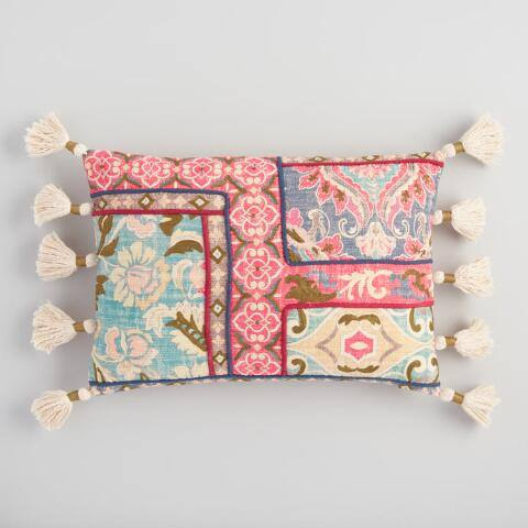 Multicolor Tapestry Printed Lumbar Pillow