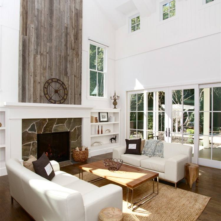 Open concept Rustic modern farmhouse living room with fireplace