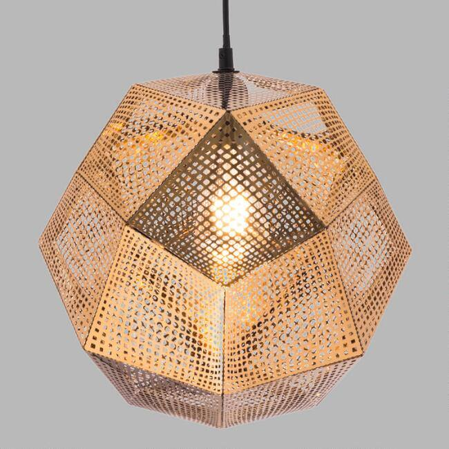 Punched Gold Faceted Geometric Orb Miles Pendant Lamp