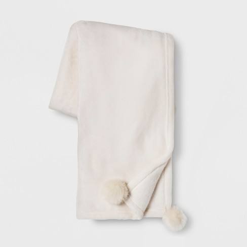 Solid Plush With Faux Fur Poms Throw Blanket - Opalhouse�