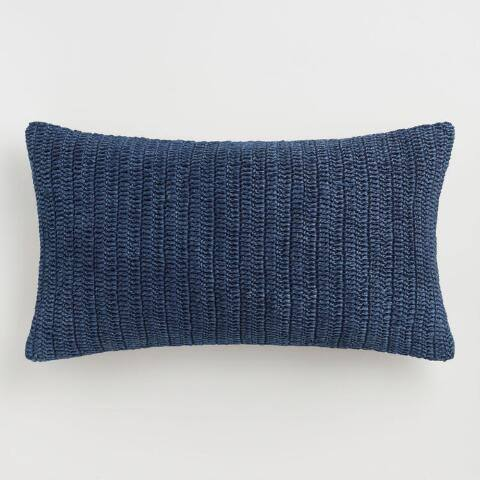 Oversized Indigo Knitted Villa Rina Lumbar Pillow