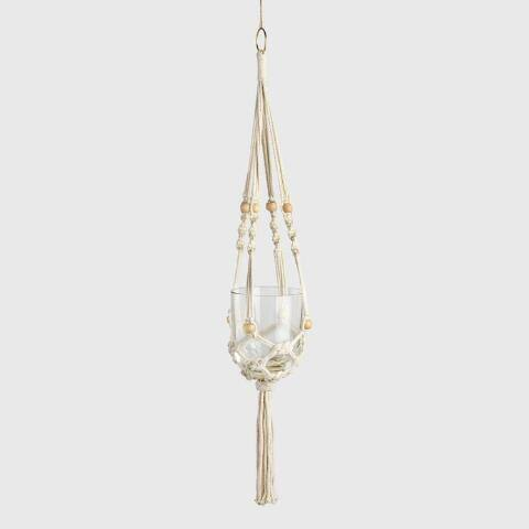 Natural Bead Macrame Plant Hanger and Planetarium Vase