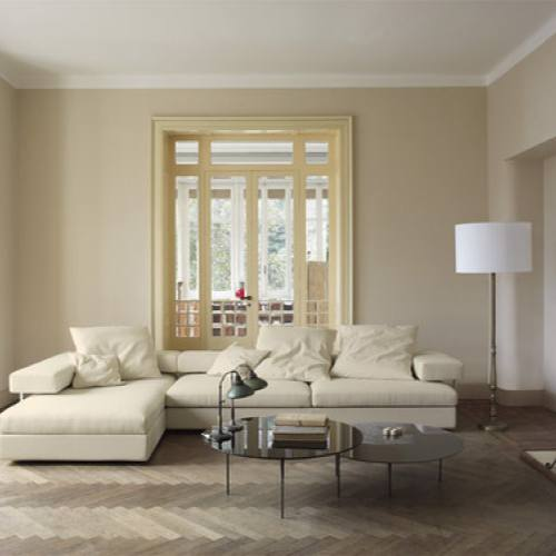 Neutral cream contemporary chic living room by usona
