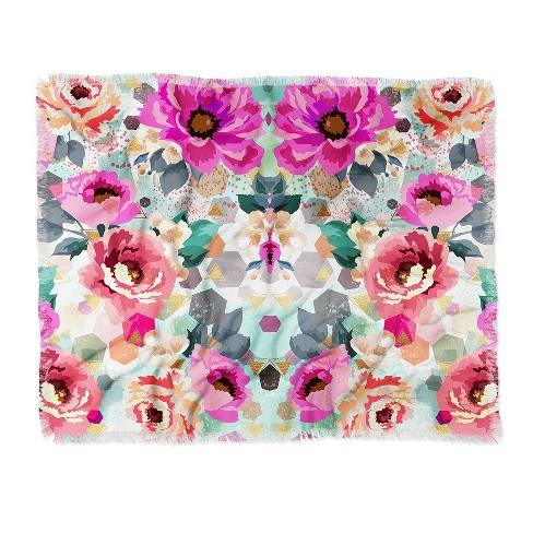 "60""X50"" Marta Barragan Camarasa Abstract Geometrical Flowers Throw Blanket Pink - Deny Designs"