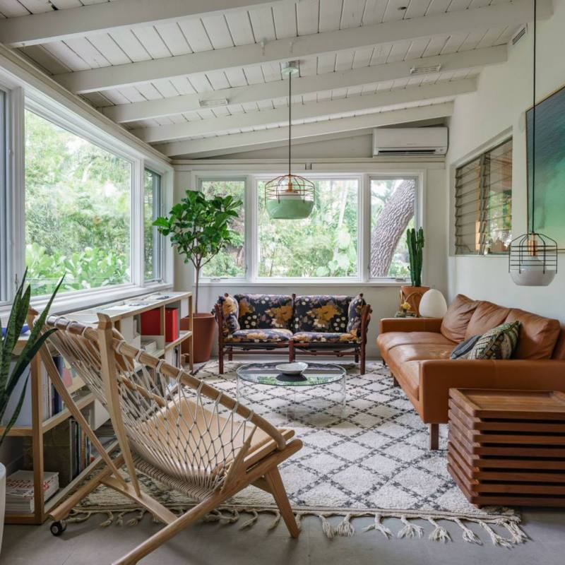 Bohemian meets midcentury living room