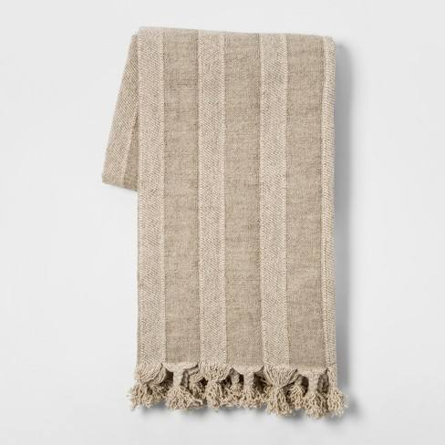 Washed Cotton Linen Stripe Throw Blanket Neutral - Threshold�