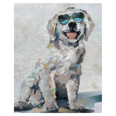 "22""x28"" Shady Pups III By Studio Arts Art On Canvas - Fine Art Canvas"