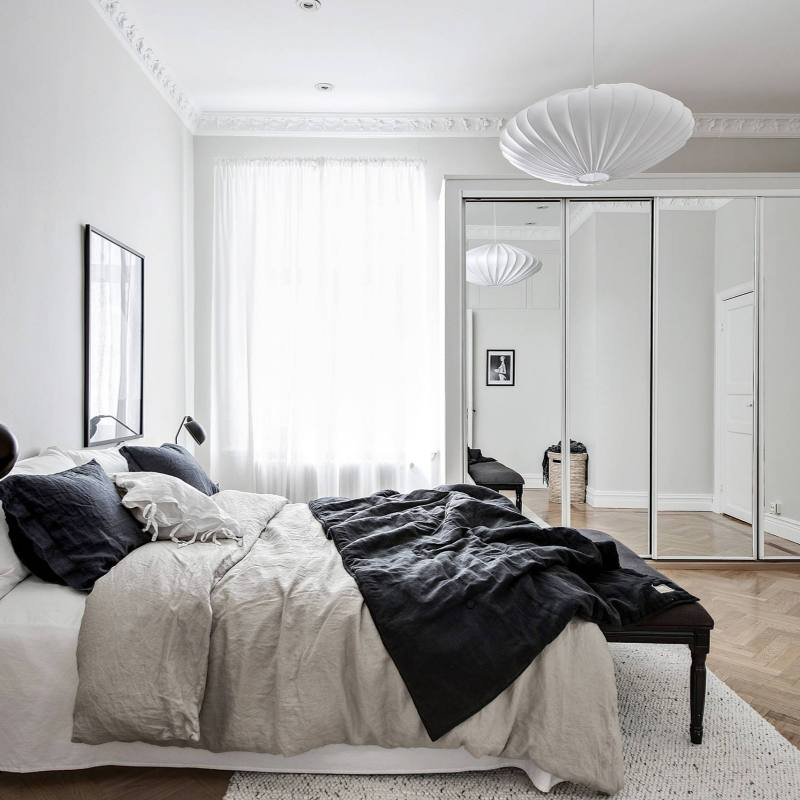 Gray neutral modern scandinavian bedroom idea
